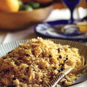 Saffron Rice Pilaf with Nuts and Currants