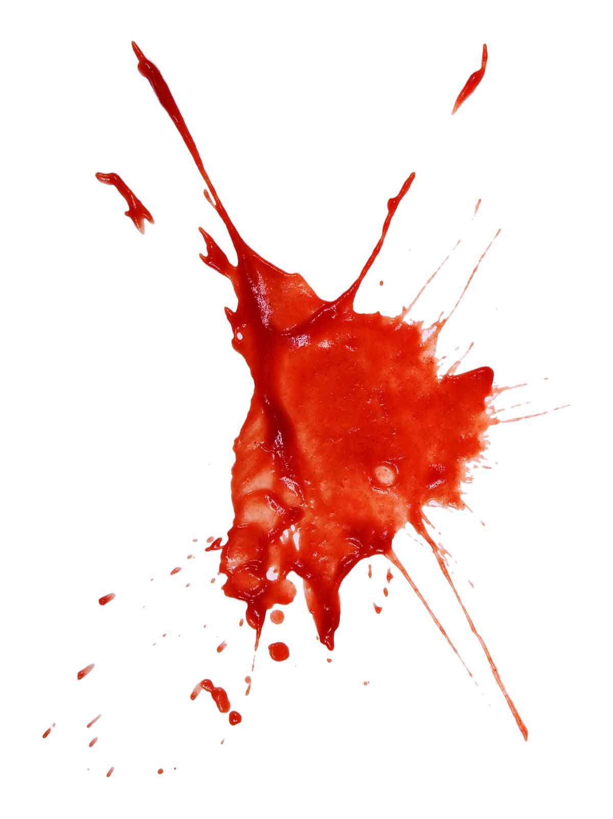A splatter of homemade ketchup.