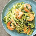 A blue plate topped with shrimp scampi with zucchini noodles.